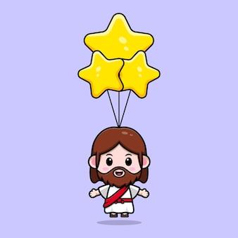 Słodki jezus chrystus unoszący się z gwiazdą balon wektor kreskówka chrześcijańska ilustracja