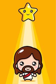 Słodki jezus chrystus w świetle gwiazd
