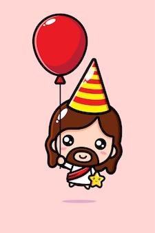 Słodki jezus chrystus w urodzinowej czapce