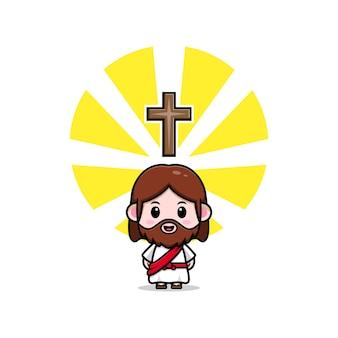 Słodki jezus chrystus z krzyżem wektor kreskówka chrześcijańska ilustracja