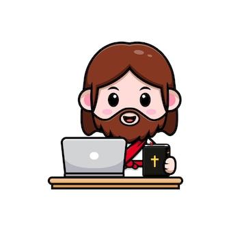 Słodki jezus chrystus z laptopem i biblią wektorową chrześcijańską ilustracją kreskówki