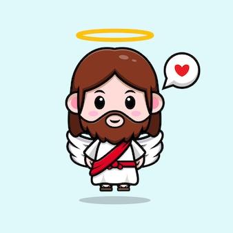 Słodki jezus chrystus ze skrzydłami wektor kreskówka chrześcijańska ilustracja
