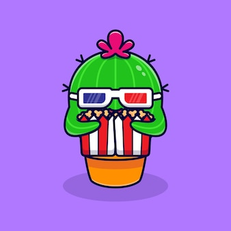 Słodki kaktus ogląda film i je popcorn. płaska kreskówka