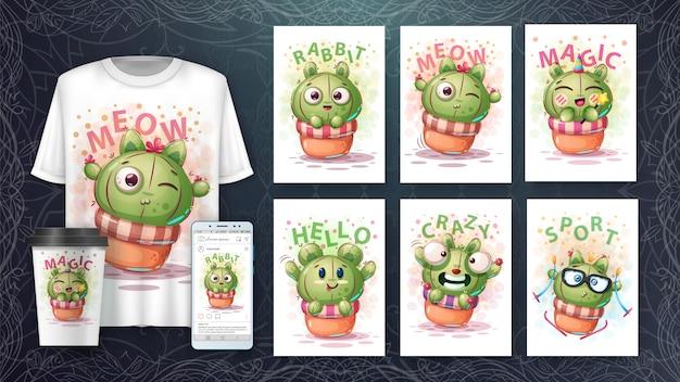 Słodki kaktusowy plakat i merchandising