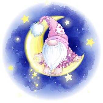 Słodki karzeł w różowej czapce siedzi w żółtym miesiącu i rzuca gwiazdy.