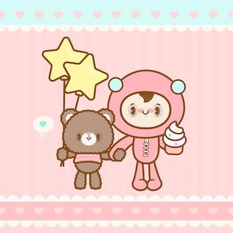 Słodki kawaii chłopiec i niedźwiedź