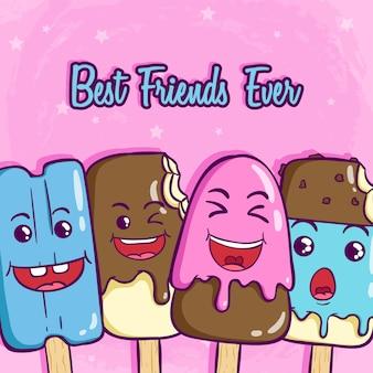 Słodki kij do lodów z zabawną buzią i najlepszymi przyjaciółmi w historii na slogan na różu