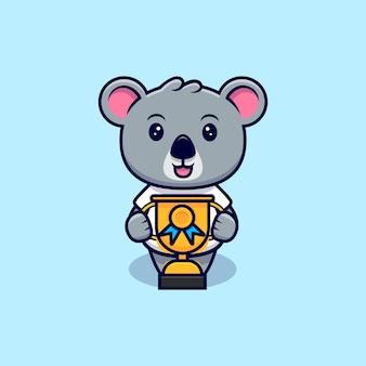 Słodki koala dostał trofeum maskotkę