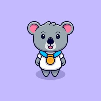 Słodki koala ubrany w kreskówka maskotkę złoty medal
