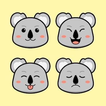 Słodki koala z zestawem zwierząt z wyrazem twarzy