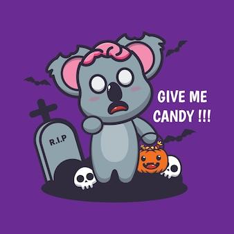 Słodki koala zombie chce cukierków słodkiej halloweenowej kreskówki
