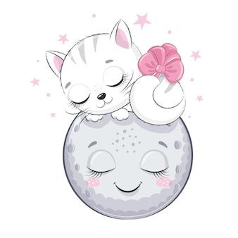 Słodki kociak śpi na księżycu