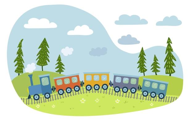 Słodki kolorowy pociąg jedzie przez pola ilustracja dla dzieci w stylu wyciągnąć rękę