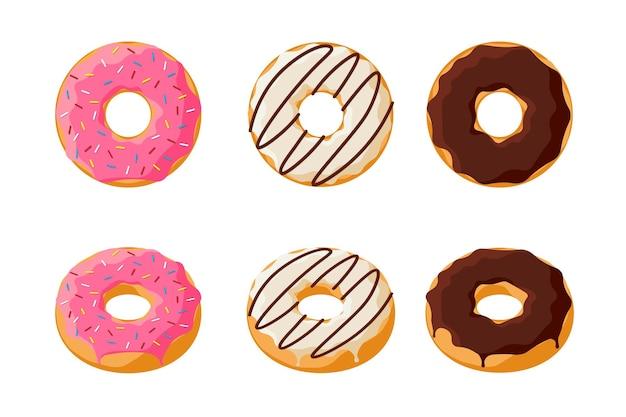 Słodki kolorowy smaczny zestaw pączków na białym tle. przeszklone pączki widok z góry i kolekcja 3d do dekoracji kawiarni lub projektowania menu. różowa i czekoladowa piekarnia. ilustracja wektorowa płaskie eps