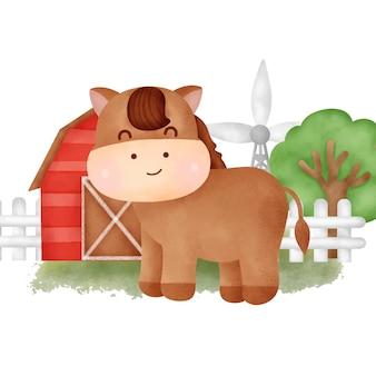 Słodki koń rysunkowy na farmie