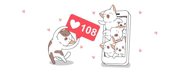 Słodki kot cieszy się z mediów społecznościowych