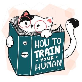 Słodki kot czyta książkę, jak trenować ludzką ilustrację