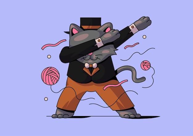 Słodki kot dabbingujący czarodziejowi halloween