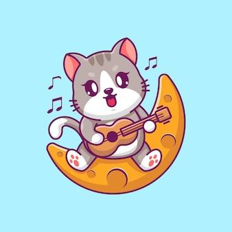 Słodki kot grający na gitarze na księżycu