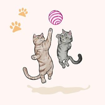 Słodki kot grający w piłkę akwarelową ilustrację