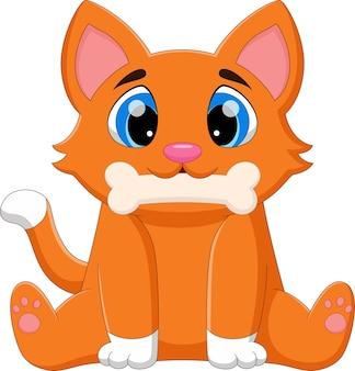 Słodki kot gryzie kość