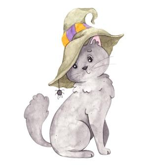 Słodki kot halloween z kapeluszem wiedźmy i pająkiem