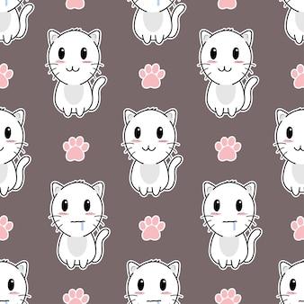 Słodki kot i łapy wzór bez szwu