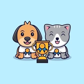 Słodki kot i pies mają płaski styl trofeum