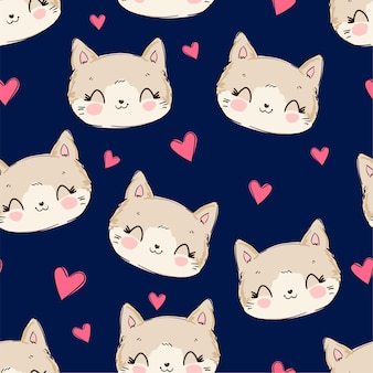 Słodki kot i słodkie serce szkic wzór