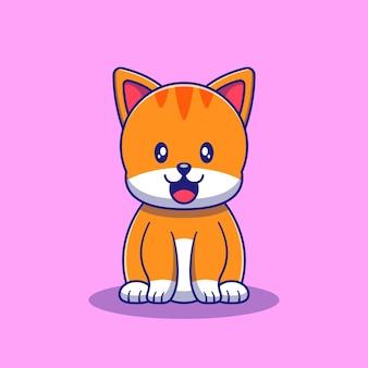 Słodki kot jedzenie ryb ilustracja. kot maskotka kreskówka znaków zwierzęta ikona koncepcja na białym tle.