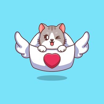 Słodki kot jest w kreskówce z listem miłosnym