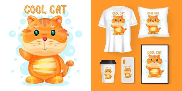 Słodki kot kreskówka i merchandising