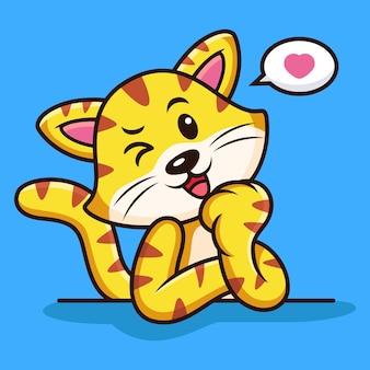 Słodki kot kreskówka z zabawnym wyrażeniem. ilustracja ikony zwierząt, na białym tle