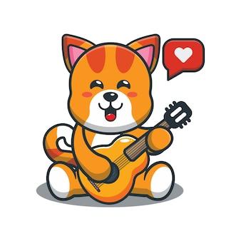 Słodki kot kreskówkowy grający na gitarze