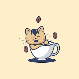 Słodki kot leżący w filiżance kawy