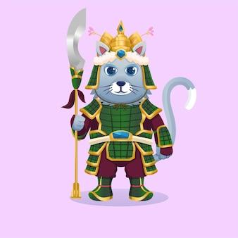 Słodki kot maskotka ubrany w tradycyjną chińską lub japońską zbroję wojenną. książka dla dzieci koncepcja dzikiej przyrody