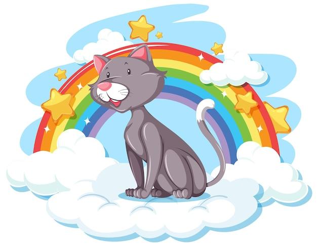 Słodki kot na chmurze z tęczą