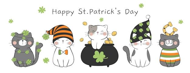Słodki kot na dzień świętego patryka