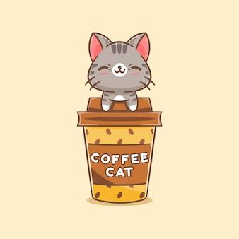 Słodki kot na ilustracji kreskówki filiżanki kawy