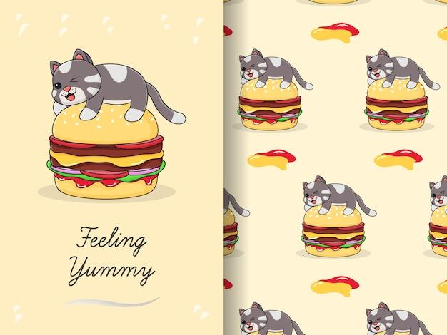 Słodki kot na szczycie wzoru i karty burgera