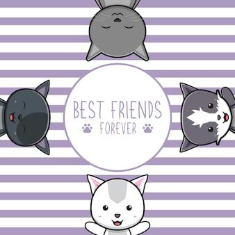 Słodki kot najlepsi przyjaciele pozdrowienie kreskówka doodle karta ikona ilustracja płaski styl kreskówki