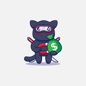 Słodki kot ninja dostaje torbę pieniędzy z magnesem