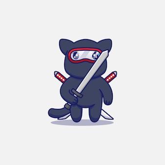 Słodki kot ninja niosący miecz