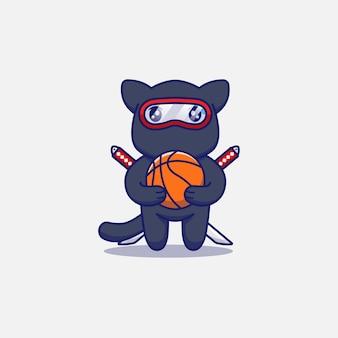 Słodki kot ninja niosący piłkę do kosza