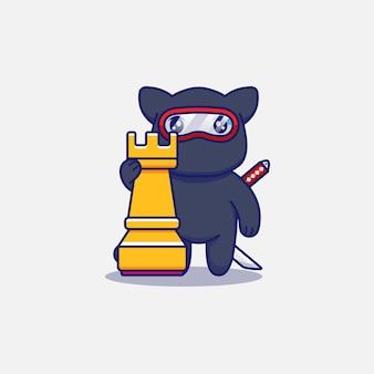 Słodki kot ninja obok wieży