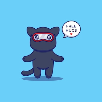 Słodki kot ninja oferujący darmowe przytulanie