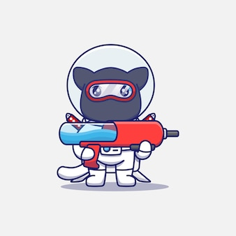 Słodki kot ninja ubrany w strój astronauty z pistoletem