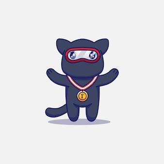 Słodki kot ninja z medalem