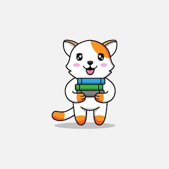 Słodki kot niosący kilka książek