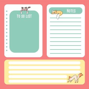 Słodki kot notes z powrotem do szkoły, aby zrobić listę rysunków z kreskówek